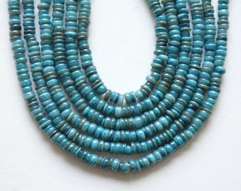 """Irregular shell rondelle beads in Aqua, 15"""" strand of dyed shell beads in a range of turquoise blues and greens, 6-8mm shell rondelles"""