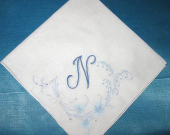 Hankie for Happy Tears Handkerchief Wedding Hankerchief initial N, E, B, H or L listing for one