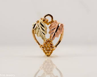 Black Hills Gold Heart Pendant Reversible 10k Rose Yellow Green Leaves Grape Gift