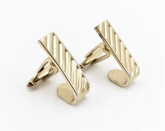 1950s-60s Hickok Gold Cufflinks Men's Vintage Gold Tone Metal Wrap-a-round Mad Men Era Cuff Link Set by HICKOK
