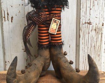 "Primitive Folk Art Witch Boots~12 "" tall w/Orange and Black Striped Fabric Stockings~Hafair Team"