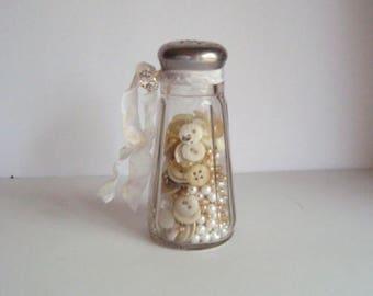 Embellished vintage salt jar