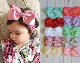 Nylon Bow headband, Large ribbon bow, One size fits all nylon headbands, wide nylon headbands, baby headbands, baby shower gift