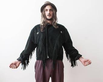 Black Fringe Jacket 70s Suede Leather Hippie Fringe Coat Jacket Biker Moto Veste a Franges