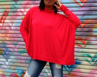 Red Turtleneck Pullover, Long Sleeve Mock Neck Tee, Slouchy Rayon Jersey Knit Top ~ All Sizes / Colors