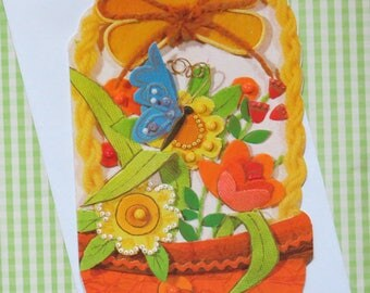 Vintage Fantasies THANK YOU Greeting Card - Basket of FLOWERS with Blue Butterfly - Unused - 1960s