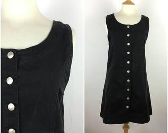Vintage 1990s Denim Dress - 90s Black Mini Dress - Shift Dress - Medium - UK 12 / US 8 / EU 40