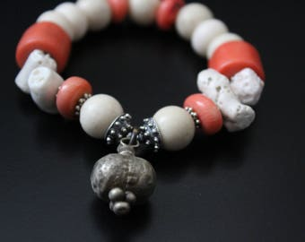 Old Ethiopian silver charm bracelet - rustic boho bracelet - coral stretch bracelet - primitive stacking bracelet - bold statement bracelet