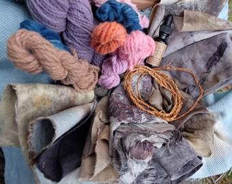 Naturally dyed fabrics, yarns, botanical ink, and cedar cordage