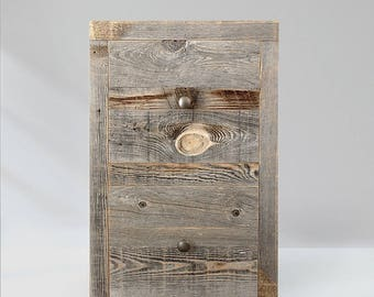 Two Drawer End Table, Nightstand, Grey Reclaimed Wood