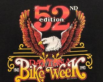 Vintage Bike Week Daytona 93 52nd annual neon eagle 90s shirt