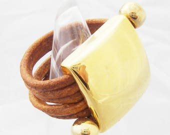 ring round leather cord with gold plated findings