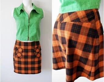 NAF NAF Mini Skirt Orange Black size 38 Vintage Short Plaid Casual Gingham S-M
