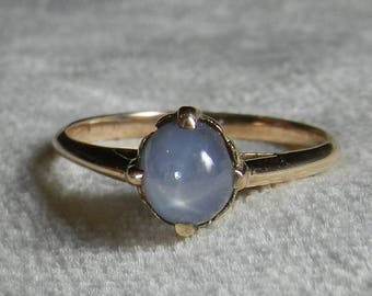 Cabochon Star Sapphire Engagement Ring Victorian Natural Unheated Sapphire Ring Cabochon Ring 14K Vintage Antique September Birthday