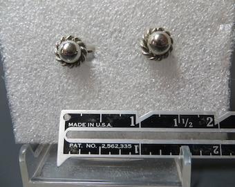 Dainty Vintage Silver Ball Screw Back Earrings