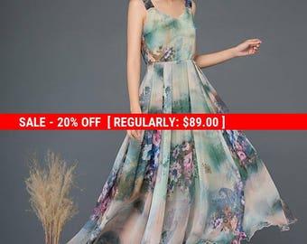 Flower print dress, fit and flare dress, floral chiffon dress, summer dress, strap dress, long dress, prom dress, sleeveless dress C1157