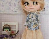 Blythe Wildflower and Gingham Blouse, Skirt and Wool Helmet Set