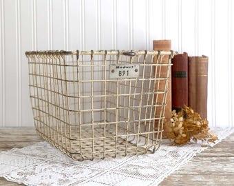 Vintage Locker Basket, Rustic Metal Basket, Old Gym Basket, Vintage Industrial Basket, Loft Decor, Vintage Farmhouse Decor Fixer Upper Decor