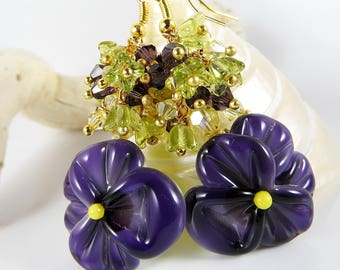 Pansies earrings lampwork MURANO beads with gold plated Crystal art.