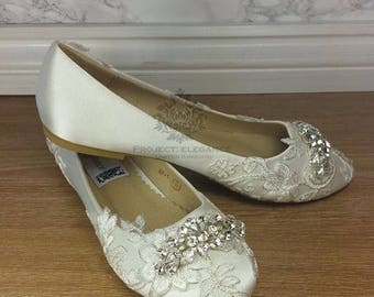 Elianna - Ivory Crystal & Lace Vintage Ballerina shoes  High Mid Kitten Heel Shoes