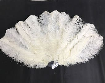 """Small Double Layers  Custom colors Ostrich Feather fan 25""""x 43"""" burlesque dancer  (beige)"""