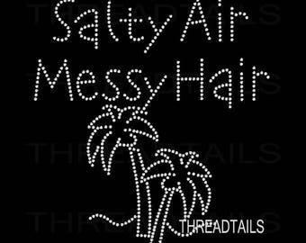 Rhinestone T-shirt.  Salty Air, Messy Hair, Palm Trees bling tee.  Summer top for Beach vacation, Ocean,  Ladies Gift, apparel, clothing.