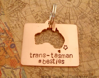 Australia Keychain with long message - cut out style - handmade - personalized