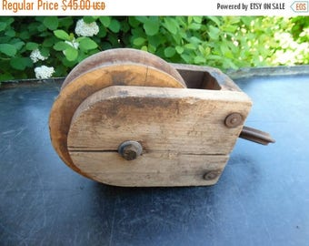 ON SALE Vintage Barn Pulley Antique Primitive Nautical Block And Tackle Wooden Pulley Salvaged Industrial Cottage Chic