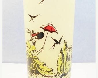 ON SALE Vintage 1950s  Decorated Glass Lady Southern Bell, Plantation, Victorian Lady, Umbrella, Yellow, Black, Red, Frosted, Barware
