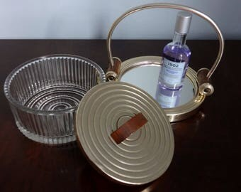 Art Deco Mirror Tray and Glass Box - from France - with Wood and Gold Colored Plated Chrome - Rolled Plinth Handles - Great Deco Detailing