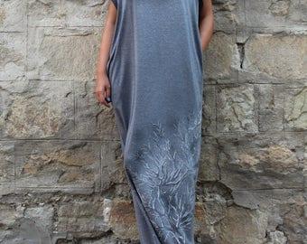 SALE ON 20 % OFF Grey Maxi Dress, Caftan, Hand painted dress, Plus size dress, Long dress, Kaftan , Woman dress, Dress with pockets