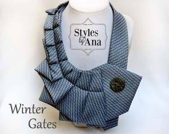 Accessory, Necktie Necklace, Repurposed Clothing,Refashioned Clothing,Fabric Collar Necklace,Necktie Scarf,Necktie Collar,Statement Necklace