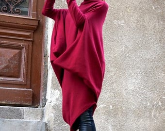 SALE NEW Oversize Burgundy Loose Casual Top / Asymmetric Raglan Long Sleeves Tunic Knit Dress / Maxi Blouse Turtle neck Tunic A02058