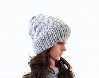 SALE Lightweight Knit Woman Cable Beanie Hat | The Heiden