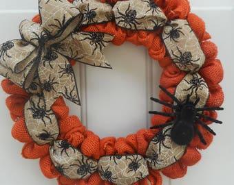 Halloween wreath Halloween burlap wreath Halloween orange burlap wreath Halloween spider wreath Spider wreath Spider decor Ready to ship