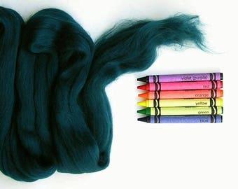 MERINO WOOL ROVING / Dark Jade - 1 oz. / needle felting / wet felting / nuno felting / weaving /spinning / merino wool tops / dreadlocks