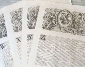Ornate Dictionary Book Pages, Frameable Antique Letter Print, Original Lithograph, French Decor, Scrapbook, Art Supply, 1852, 9 x 12 inches