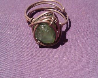 Handmade raw peridot copper ring, peridot jewelry, peridot crystal ring, copper peridot ring gypsy ring jewelry wire wrapped peridot