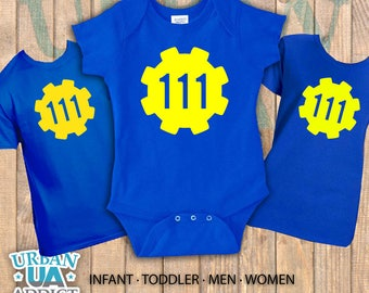 Fallout Vault shirt Onesies, Toddler, Youth, Men and Womens sizes available for this Video Game shirt.
