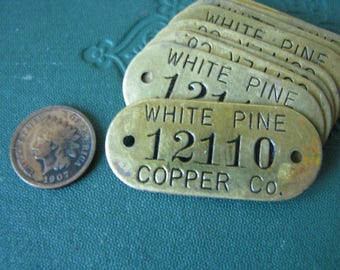 Beautiful Vintage Brass Numbered Tool Check Hardware Tag White Pine Copper Co. Jewelry Supply Jewelry Assemblage