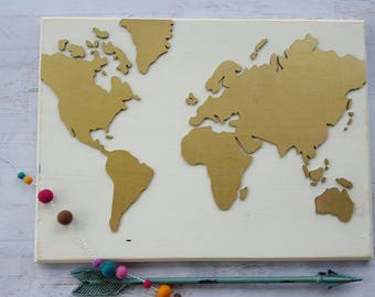 Wood Map Of The World...Large Wood World Map....Rustic World Map...Travel...Laser Cut Wood...Nursery Decor...Rustic Home Decor...HAVENSPLACE