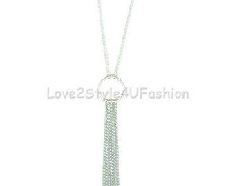 Long Tassel Necklace, Silver Tassel Necklace, Statement Necklace, Long Boho Necklace, Tribal Gypsy Bohemian Necklace, Long Fringe Necklace