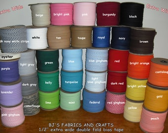 10 Yards EXTRA WIDE Double Fold Bias Tape  ~~YOU Choose From 36 Colors