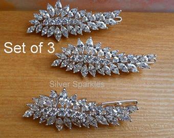 wedding hair clips set of 3 Cubic Zirconia Barrettes, Bridal set CZ Hair jewelry, bridesmaid 3 hair clips silver set, Swarovski pearl