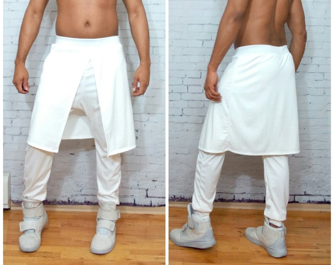 Kilted Jogger pant in white