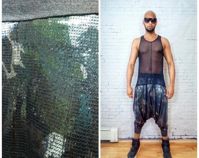 Full  Sequin Harem Drop Crotch Pant ninja pants / baggy harem / yoga pants