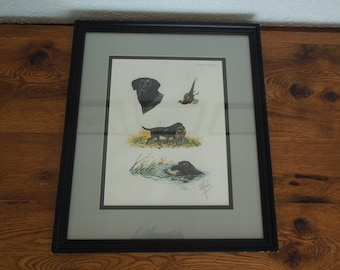 Vintage 40's Boris Riab Signed Black Labrador Hunting Dog Print Matted Framed