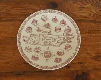 "Vintage Tennessee Souvenir Plate Vernon Kilns Red and White Transferware 10"""