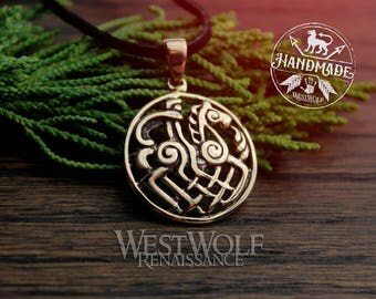 Viking Odin on Sleipnir Pendant -- Norse/Medieval/Gold/Bronze/Jewelry
