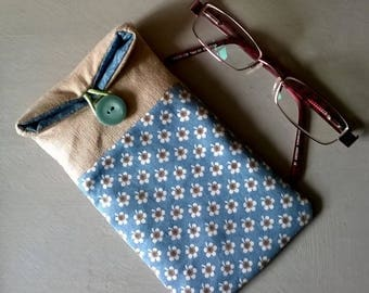 Linen Glass Case with Blue Floral Fabric  / Specs Case /Glasses Case / Sunglasses Case